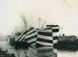 Example of razzle dazzle camouflage warship from WWI.