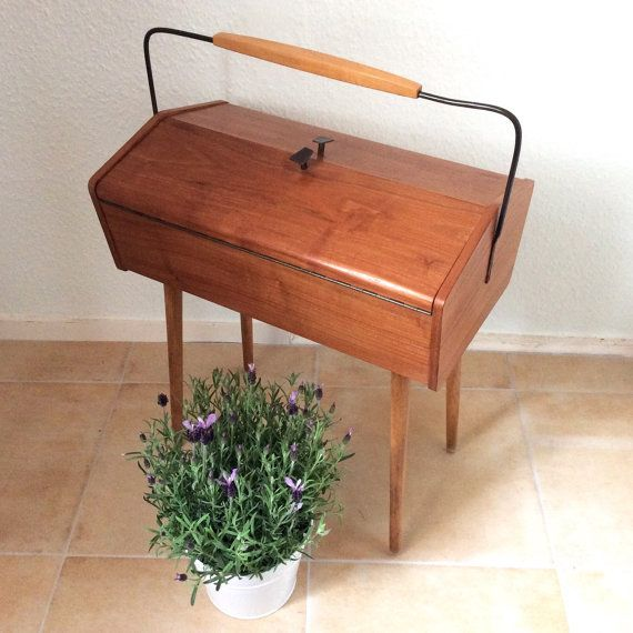 Vintage Mid Century Modern Sewing Box On Legs With Handle Removable  Compartments Cupboard Original Wood Vintage Home Deco Cabinet
