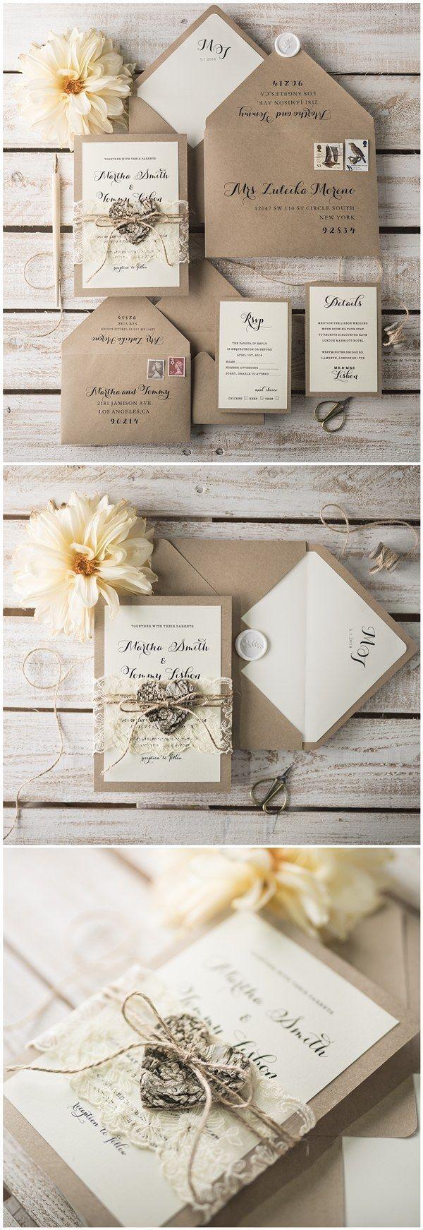 wedding invitations gifts%0A Rustic kraft paper wedding invitations   http   www deerpearlflowers com