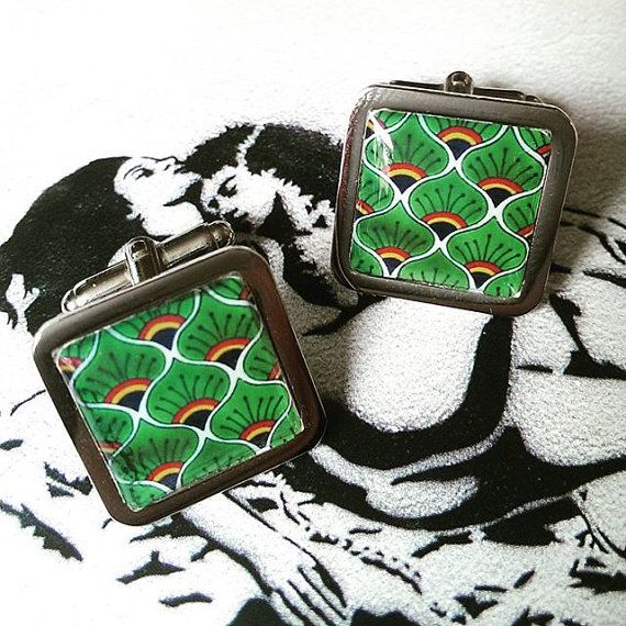 Moroccan Peacock Feather Design Cuff Links