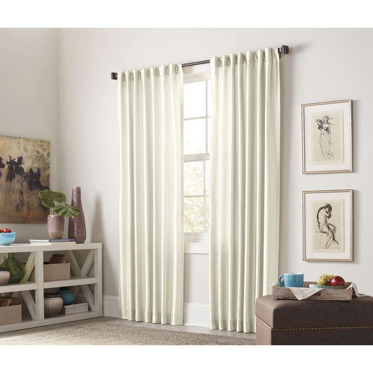 allen roth glenellen 84in ivory polyester back tab room darkening interlined single curtain