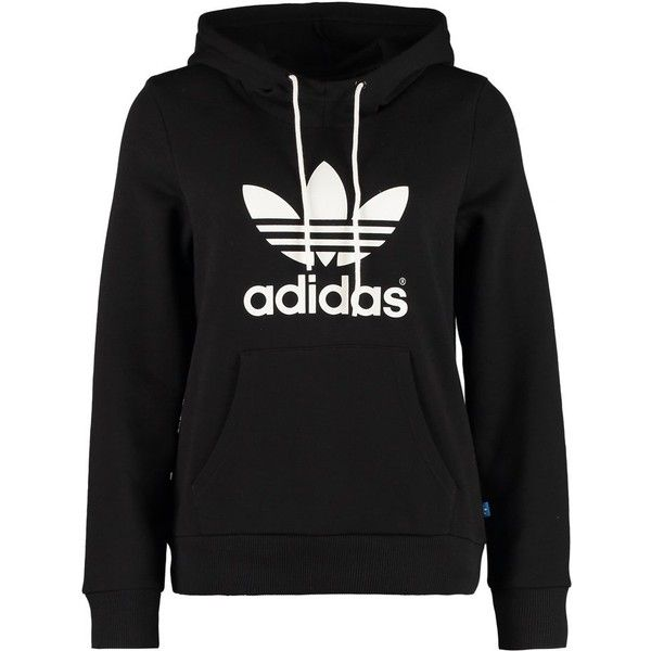 adidas Originals TREFOIL Hoodie (£47) ❤ liked on Polyvore featuring tops, hoodies, jackets, sweatshirts, sweaters, black, cotton hoodies, hooded pullover, hoodie sweatshirts and adidas originals hoodie