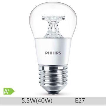 Bec LED Philips 5.5W E27 forma clasica A60, lumina calda