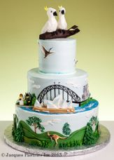 omg - gorgeous wedding cake. would be cool for aussie day... dreaming.