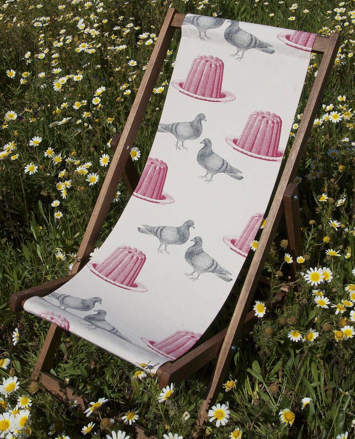 A deckchair to make you smile.Brighten up your outdoor space with this quirky deckchair. Decorated with pink jellies and pigeons it's the most fun piece of garden furniture you'll see this season. Buy one as a talking point or a few to really make a statement.Matching cushions are available. See the rest of our range for details.made from:100% cotton sling. Solid hardwood frame.dimensions:Measures 132cm x 56cm when folded.