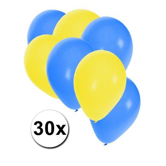 Oekrains ballonnen pakket 30x  30 stuks ballonnen in de kleuren van Oekraine: geel en blauw. Van elke kleur een zakje van 15 ballonnen leuk voor Chinese themafeesten.  Dit artikel bestaat uit: 1x Blauwe ballonnen 15 stuks 1x Gele ballonnen 15 stuks  EUR 2.99  Meer informatie