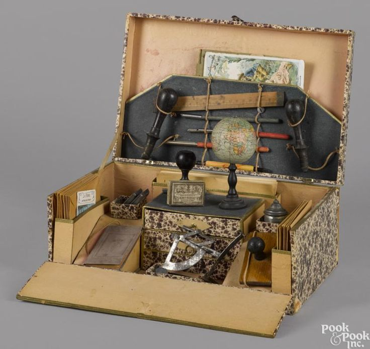 French papeterie (Stationary) play set, in a presentation box, fitted with an inkwell, a compass - Price Estimate: $300 - $400