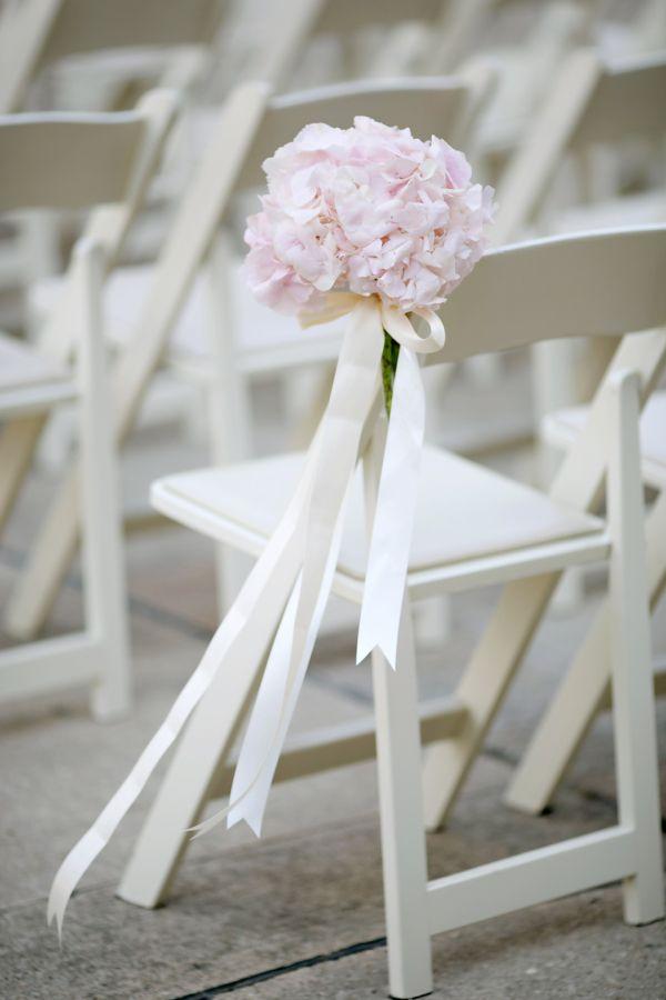Pale Pink Hydrangea Aisle Decor | photography by http://www.jenlynnephotography.net/