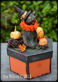 Sweet Halloween spun cotton black cat and pumpkins, by Iva Wilcox. Sold