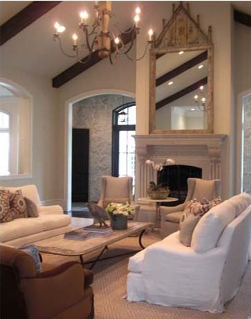 tones and furniture: Beautiful Living Rooms, Tg Interiors, Coffee Tables, Ceilings Fireplaces, Furniture Arrangements, Stones Wall, Family Rooms, High Ceilings, Families Rooms