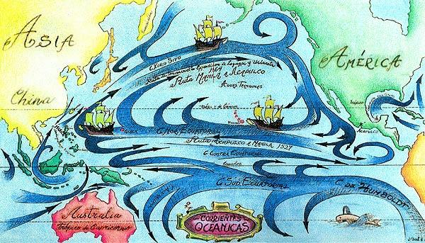 Imagen de un mapa con las ruta de regreso de Manila a Acapulco y viceversa