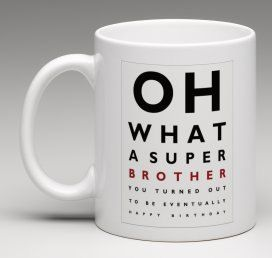 Funny mug Eye Test style Brother's Birthday gift by BeesMugShop