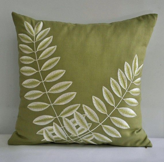 chartreuse green pillow case throw pillow decorative leaves embroidery on green linen 18