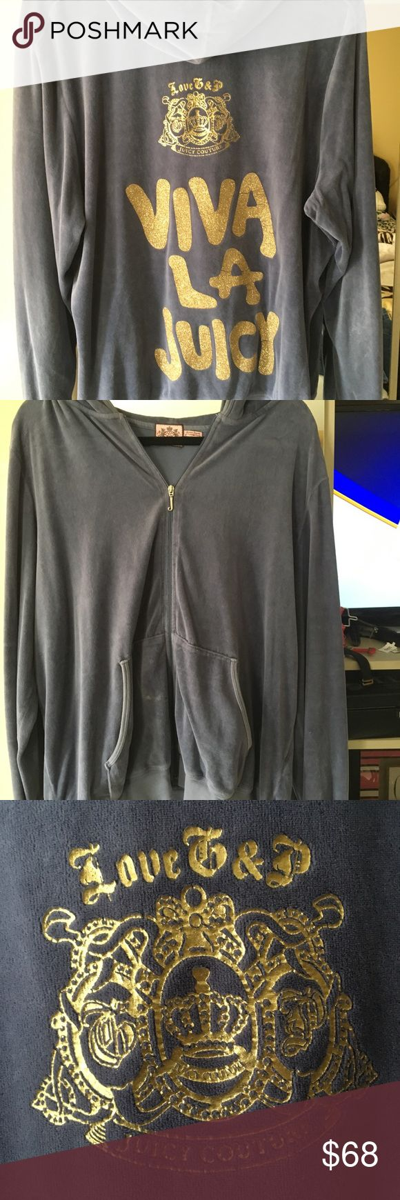 Juicy couture plus sized Valore grey zip up hoodie Very rare. Viva lawjuicy glitter Valore zip up hoodie in plus size.  A must have for the curvy fashionista Juicy Couture Jackets & Coats