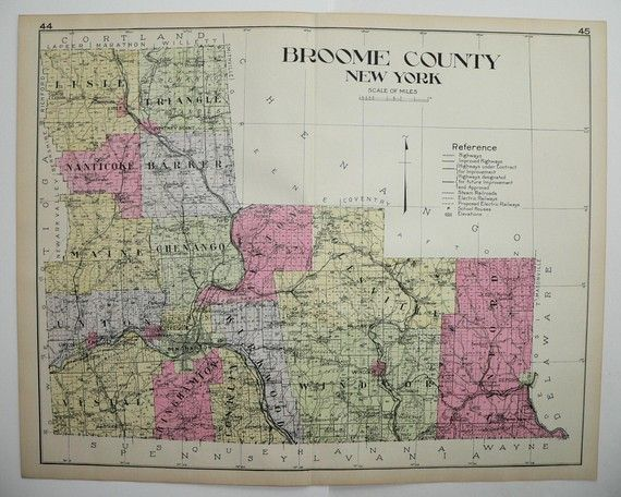 Broome County NY Map 1912 Large Map Art New York Genealogy Historical Map Unique Gift for the Home Vintage Wall Map Binghamton Whitney Point by OldMapsandPrints on Etsy