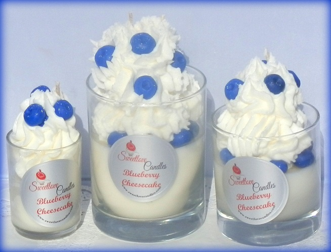 Blueberry Cheesecake Cupcake Candle www.sweetlovecandles.com