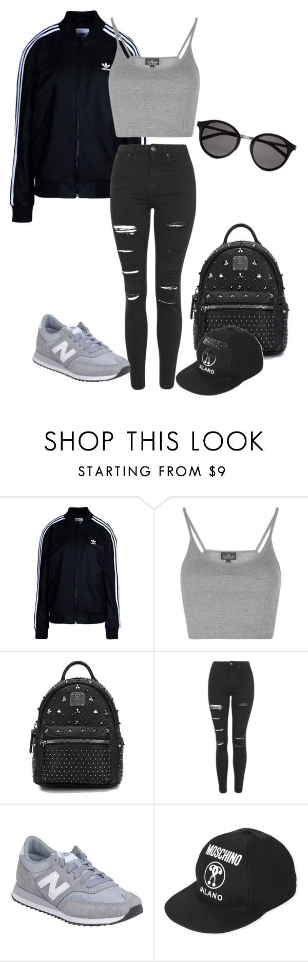"""""""Untitled #301"""" by dimitrismatina ❤ liked on Polyvore featuring adidas Originals, Topshop, MCM, New Balance, Moschino and Yves Saint Laurent"""
