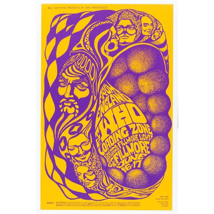 "Fifty years after the ""Summer of Love,"" its psychedelic vibes live on through stylized concert posters in our @cooperhewitt.  Artist Bonnie MacLean designed this one, commissioned by her husband Bill Graham, who was promoting shows as part of the Monterrey Pop Festival.  The June 1967 festival embodied the summer's spirit and included legendary performances by Jimi Hendrix, Janis Joplin and The Who, featured here, who were on their first trip to the West Coast of the U.S.  MacLean went on to…"