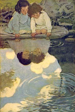 enfants au bord de l'eau, illustration Jessie Willcox Smith
