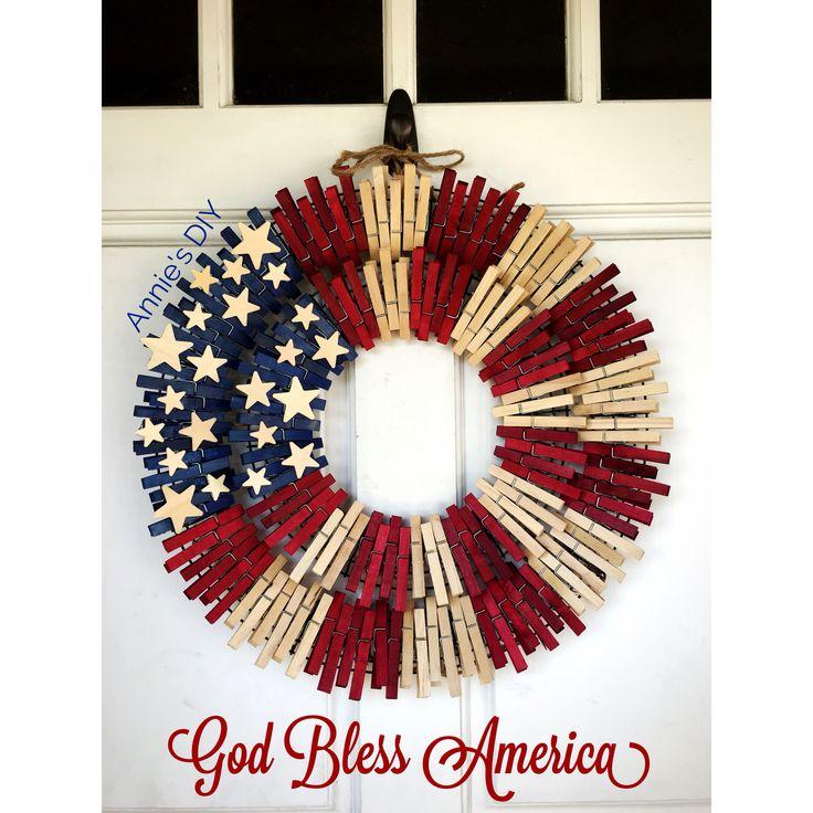 American Flag Wreath - Clothespin Wreath created by Annie Huynh
