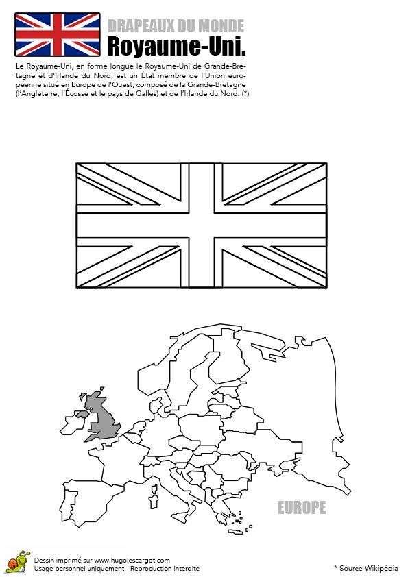 A colorier, le drapeau du Royaume-Uni.