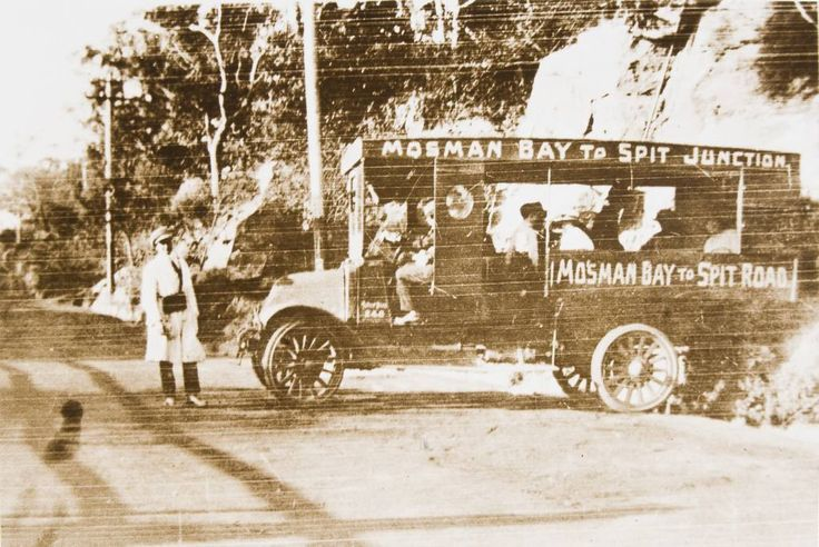 Bus at Mosman bay, c. 1920. Buses and trams travelled to Mosman bay to meet the ferry service.