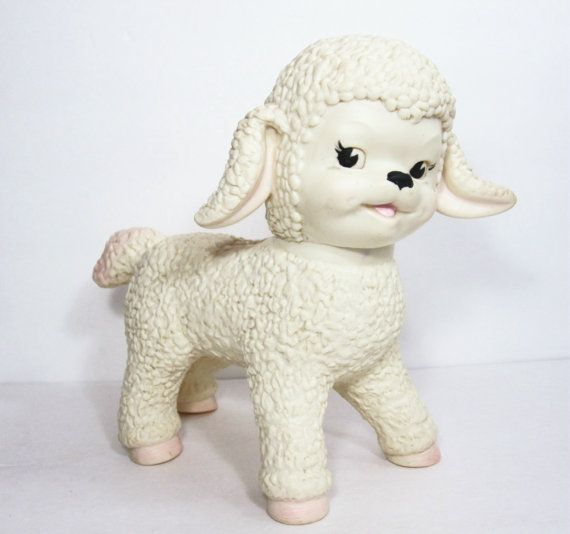 Vintage Toy Lamb Sun Rubber Company 1960s- I had one of these.