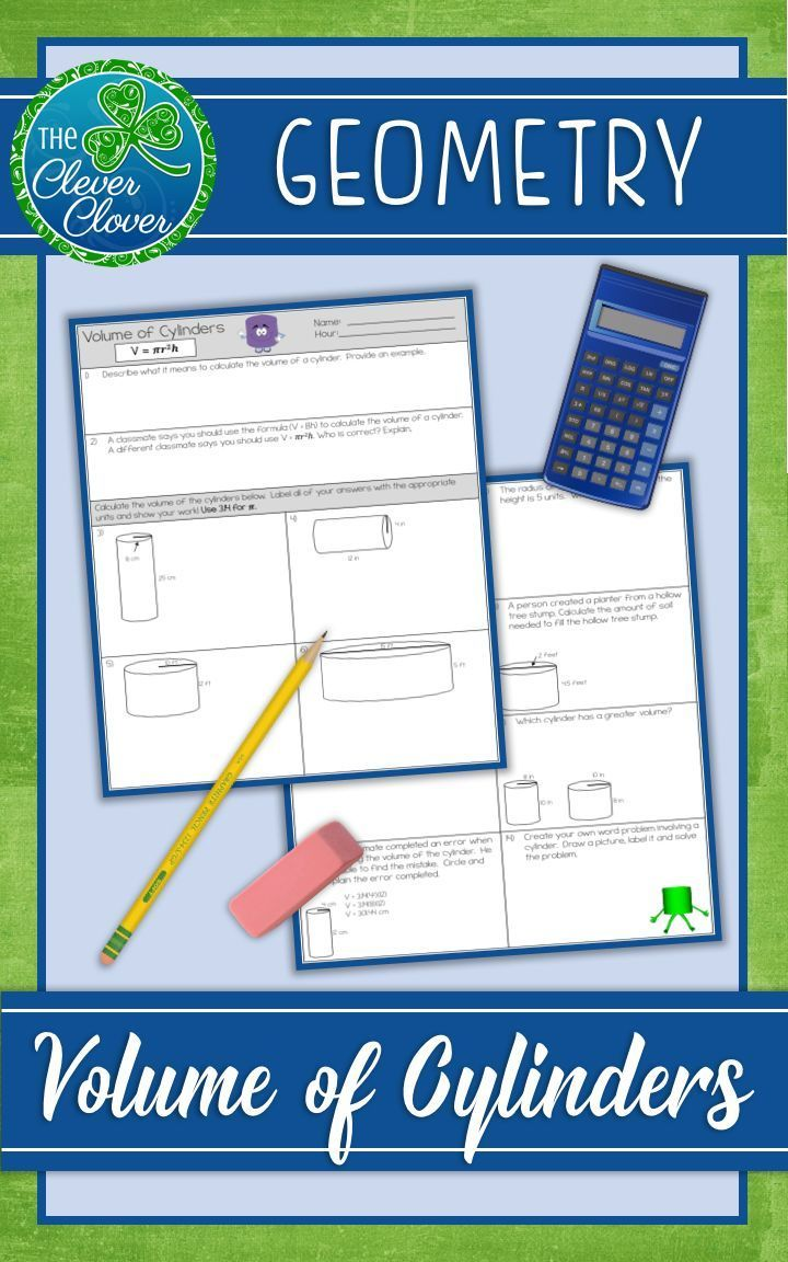 Use this common core aligned worksheet to help students understand how to calculate volume of a cylinder. This fourteen question resource provides excellent practice problems for your students. Students will explore calculating the volume given the radius and the height. They will also practice calculating the missing value (radius or height) given the volume.