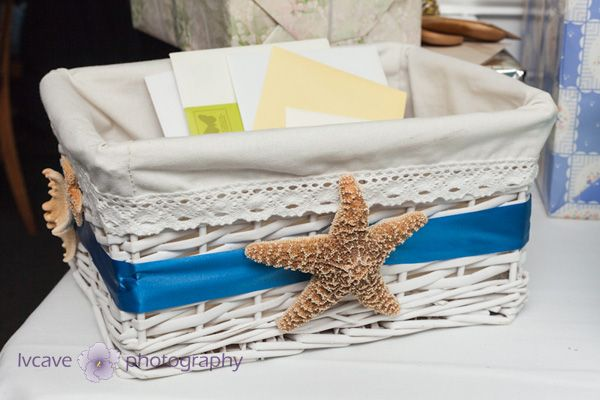 beach bridal shower ideas - card basket