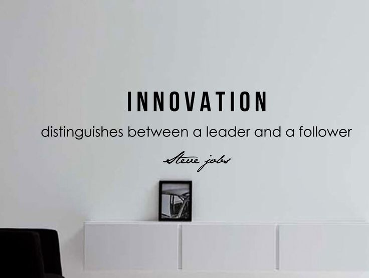 "Steve Jobs Motivational Business Quote Wall Decal ""Innovation Distinguishes Between a Leader and a Follower"""