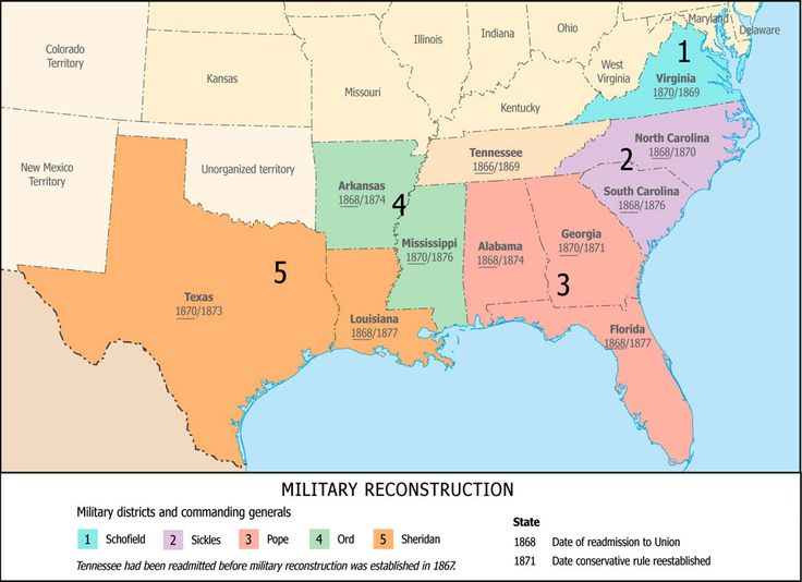 best the civil war reconstruction maps charts 1865 1877 reconstruction military districts