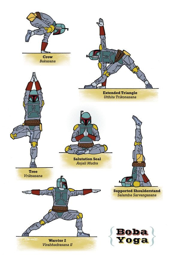 Boba Fett demonstrates various yoga poses. That outfit allows surprising freedom of movement.