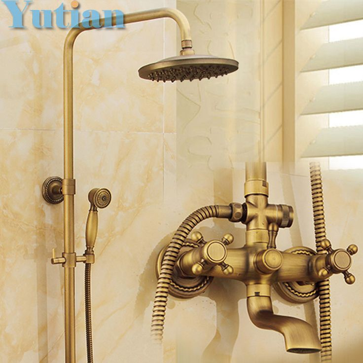 """Antique Brass Wall Mounted Mixer Valve Rainfall Shower Faucet Complete Sets + 8"""" Brass Shower Head + Hand Shower + Hose YT-5317"""