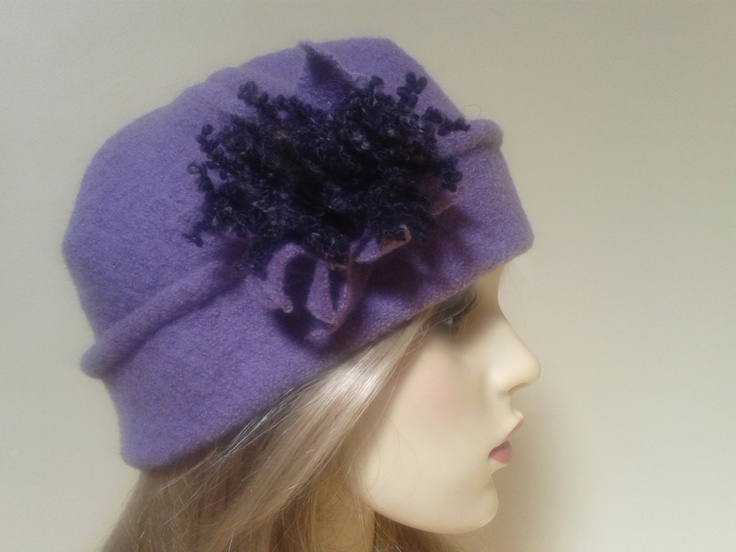lovely lilac winter hat for ladies in boiled wool fabric. €25.00, via Etsy.