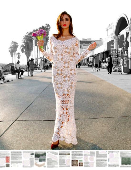 Maxi dress crochet PATTERN  *    The detailed tutorial with high quality charts has being offered for crocheters since 2014. Several screen shots of 21-pages tutorial show blurred charts (for preview). Layout of motifs for the whole dress is included.
