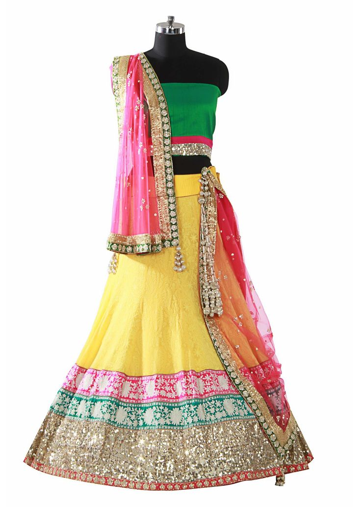 Yellow lehenga with embroidery by Kalki