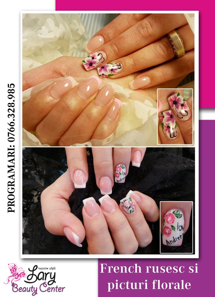 french & flower nails http://www.larybeautycenter.ro/