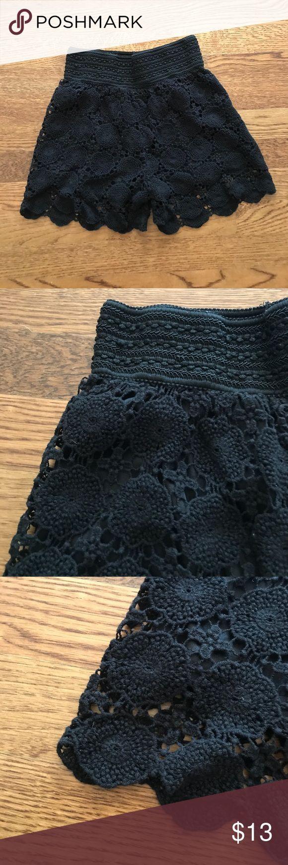 Black Crochet Shorts Black fully lined , elastic waistband Shorts