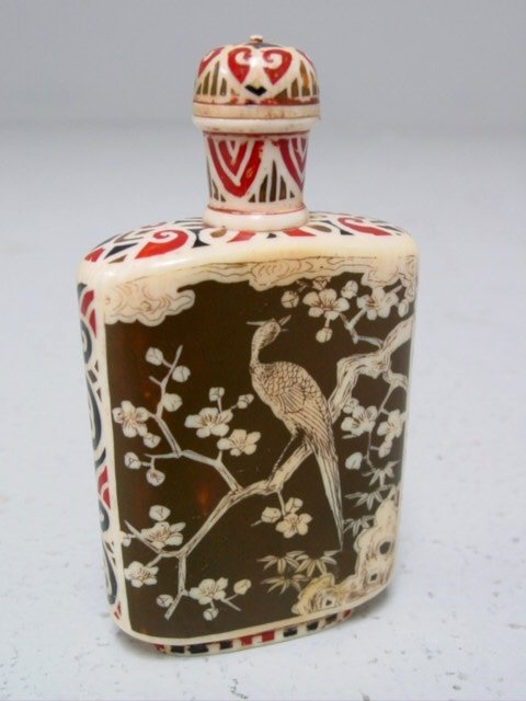 Bone Chinese handpainted snuff bottle signed