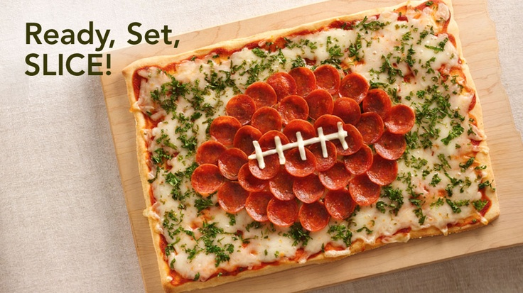 Superbowl pizza. Almost too cute to eat!