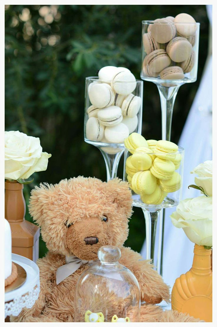 Yellow and brown Baby Shower sweets, cake table decoration. Tedy bear