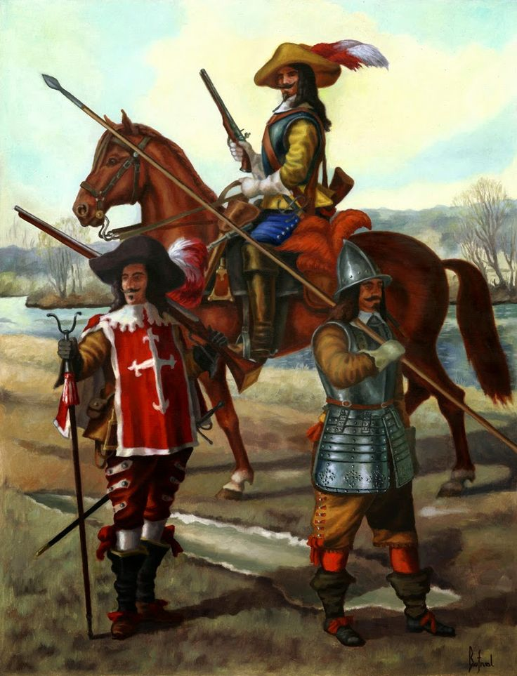 French soldiers from the period of of the Battle of Tuttlingen 1643. Musketeer of the Guard of Cardinal Mazarin, dragon and pikeman.