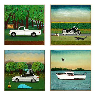artist Tim Wirth will paint a pic of your favorite car,boat  or motorcycle...w/ any bkgroud of your choosing. MINI; Brian (or Bryan) with Chicago in the background as we head north for the shores of Lake Michigan or Lake Superior.