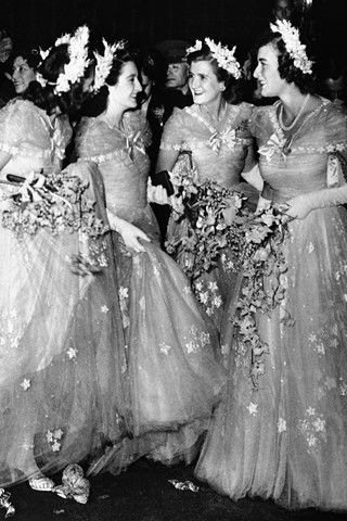 The royal bridesmaids, ca 1947. : Princess Elizabeth's wedding.