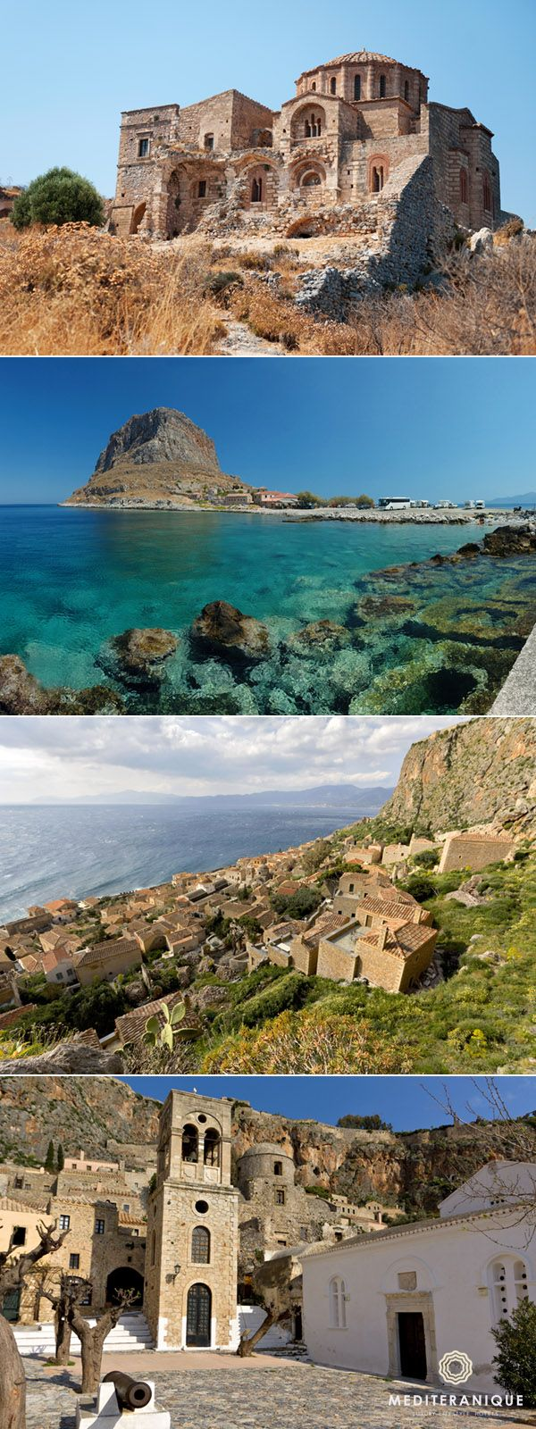 Monemvasia, Greece: an amazingly beautiful and historic fortress just off the mainland of the Peloponnese.