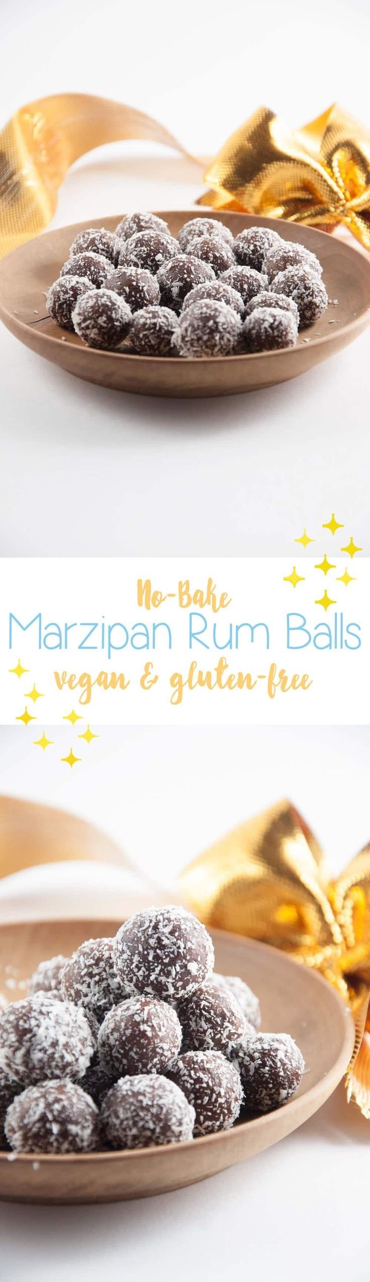 Vegan & Gluten-free No-Bake Marzipan Rum Balls - perfect for the holidays! They are super easy to make and don't require an oven. Can be made in 10 minutes.