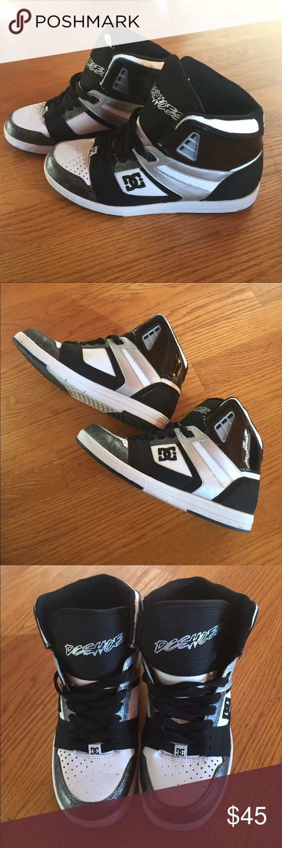 Barely Worn Black/White/Silver Tres DC Sneakers These guys are almost new - I wore them MAYBE three times. Gift from my mom after I sprained my ankle (again!), but didn't wear them much because I prefer heels ;) Anyway, they're in great condition and barely worn! Beautiful shoes, and come in the original box! DC Shoes Sneakers