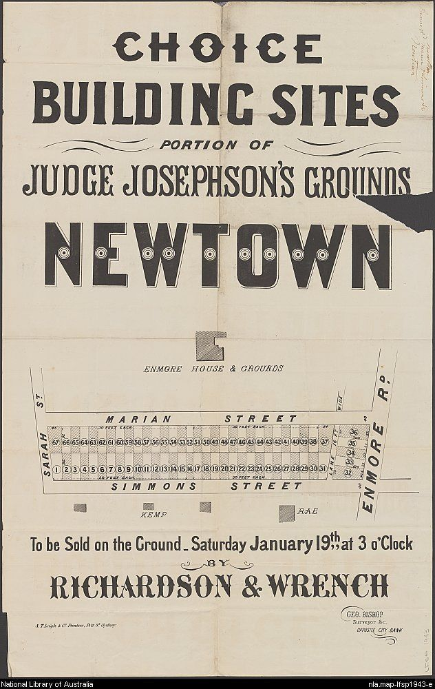 Richardson & Wrench. Choice building sites, portion of Judge Josephson's grounds, Newtown : to be sold on the ground-Saturday January 19th, at 3 o'clock. 1890s. National Library of Australia: http://nla.gov.au/nla.map-lfsp1943