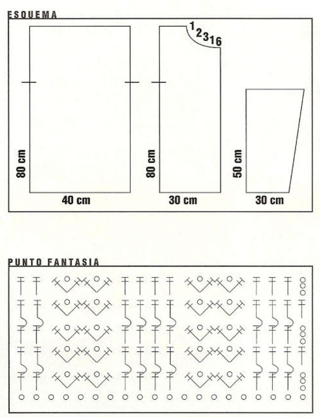 Talle: 38 Materiales: 1 kg Lecco L.H.O.Color 136 / Aguja de crochet n° 8 / botones 6 PUNTOS EMPLEADOS Medio punto / Punto cangrejo / ...