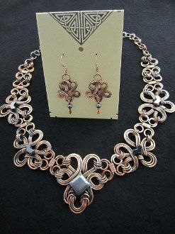 Copper and Hematite Celtic Lace Necklace & by MysticMetalDesigns, $325.00